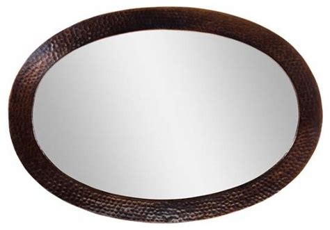 framed oval mirror copper contemporary bathroom