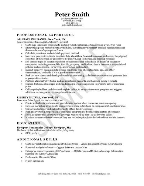 Insurance Resume Sle by Insurance Resume Exle Products Resume And