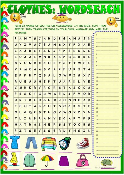 clothes wordsearch with key worksheet free esl