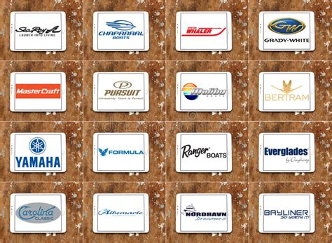 Top Famous Boat And Yacht Brands And Logos Editorial Stock