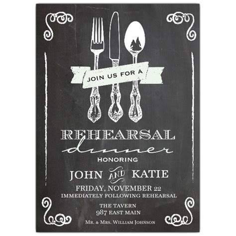 utensil chalkboard rehearsal dinner invitation paperstyle