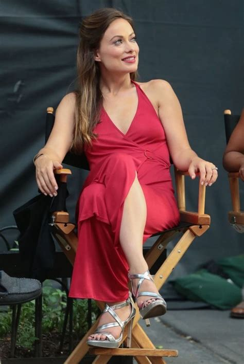 olivia wilde  red dress filming  nyc july