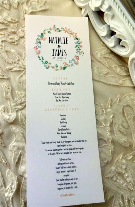 shabby chic wedding programs ceremony program card fully customized shabby chic rustic wedding ceremony card single