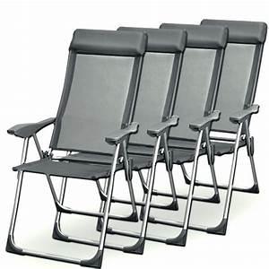 Chaise Camping Pliante : lot de 4 chaises pliantes alu jardin camping achat ~ Melissatoandfro.com Idées de Décoration
