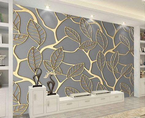 unique  golden leaves pattern wallpaper mural gold leaf