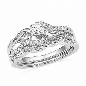 swirl diamond engagement ring set sterling silver With swirl diamond wedding ring set