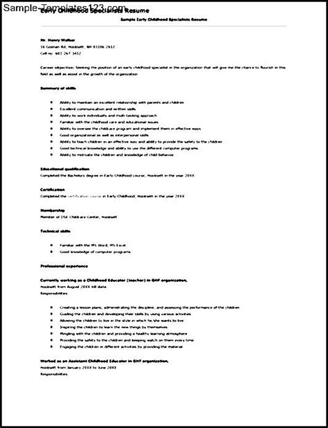 Early Childhood Education Resume Exles by Early Childhood Education Resume Sle Sle Templates