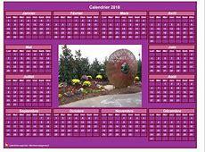 Calendrier 2018 photo annuel à imprimer, fond rose, format