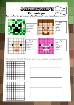 minecraft maths booklet decimals percentages volume