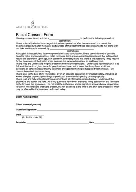 facial consent form printable