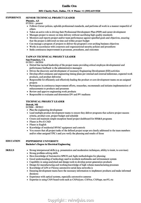 Project Lead Resume Sle simple project lead resume exles technical project