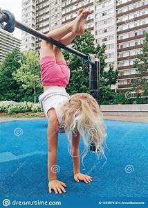Little, Girl, Upside, Down, At, Playground, Stock, Image
