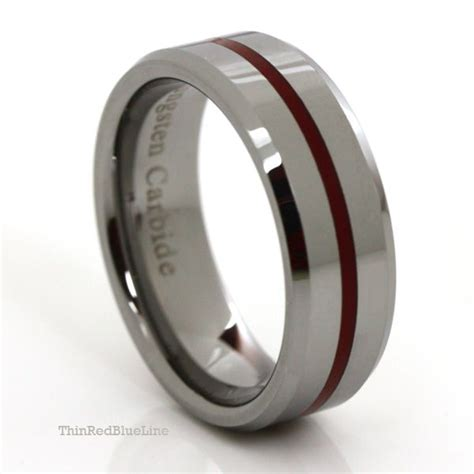 thin red line 8mm red epoxy tungsten carbide ring