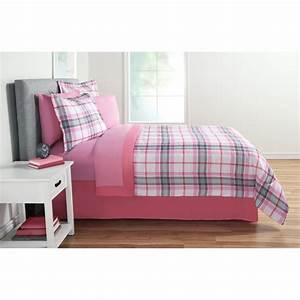 mainstays, pink, plaid, 8, pc, bed, in, a, bag, bedding, set, , queen