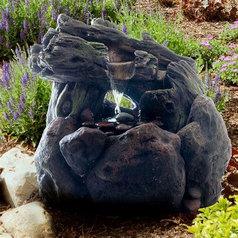 pure garden led lighted outdoor rockery fountain  pump