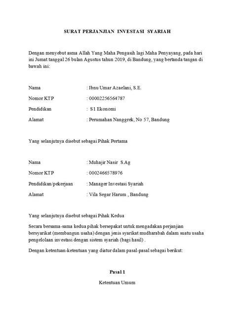 Kontrak Kerjasama Bisnis / Surat Perjanjian Kerjasama Usaha Makanan Minuman Docx : Surat