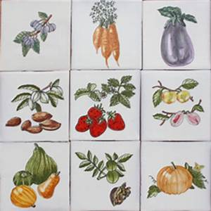 3805 portuguese artistic loose designs garden clay tiles With kitchen tiles with fruit design