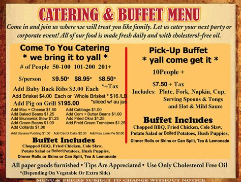 Sideboard Menu by Catering Up Buffet Clyde Cooper S Bbq
