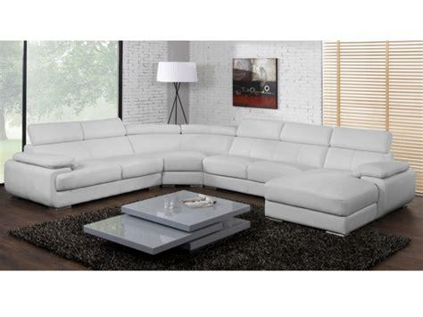 canapé panoramique cuir 7 places elevanto noir ou blanc