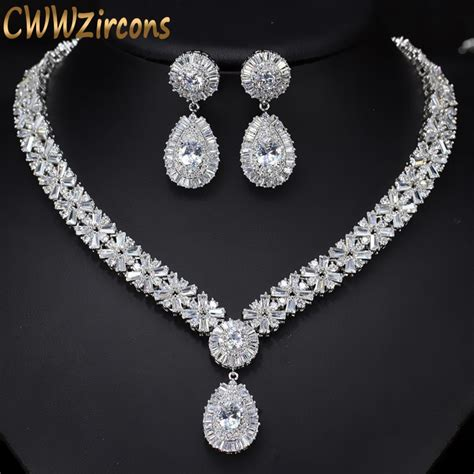 Wedding Jewelry by Cwwzircons White Gold Color Luxury Bridal Cz