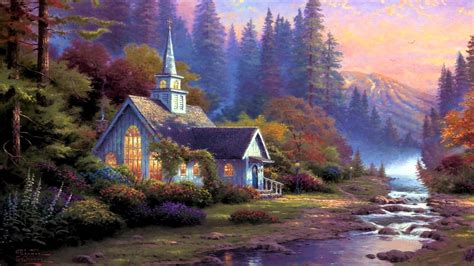 Painting Wallpaper by Kinkade Painting Hd Wallpaper Background Image