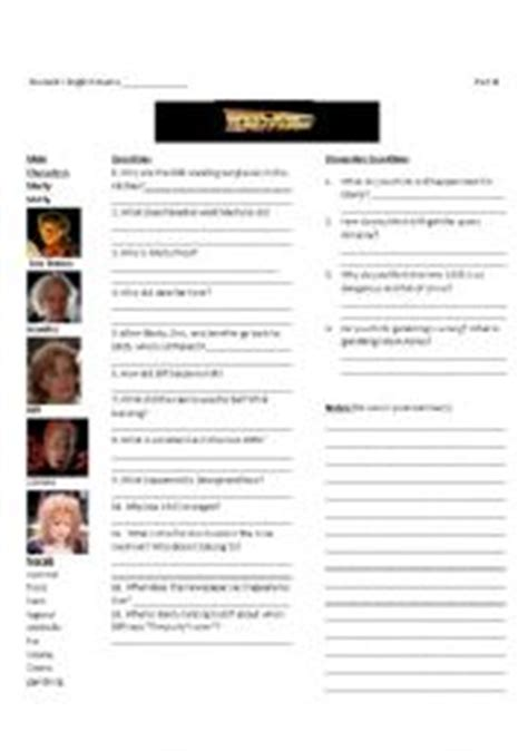 teaching worksheets back to the future