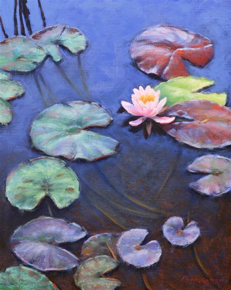 lotus  lily pads oil painting lily painting lotus