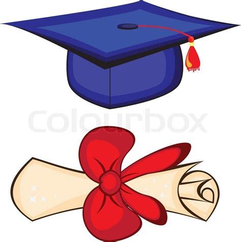 diploma and graduation cap stock vector colourbox
