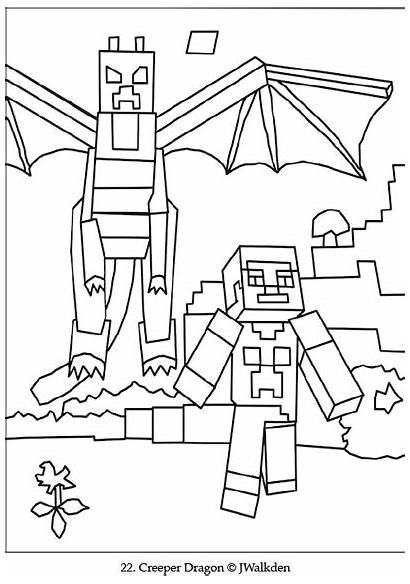 Minecraft Coloring Colouring Printable Sheets Dragon Ender