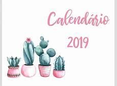 Calendário 2019 Cactos Rosa Pdf Feriados Nacionais R$ 12