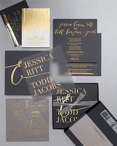 34 chic modern wedding stationery ideas weddingomania With black wedding invitations with gold lettering