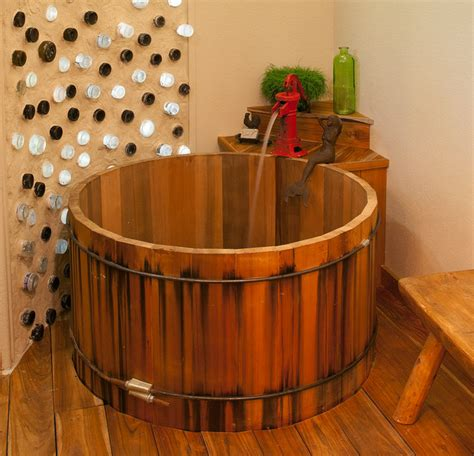 cedar soaking tub rustic bathroom dallas by