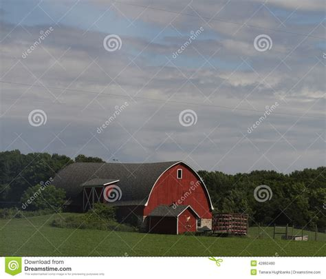 Wisconsin Red Barn With Green Fields Stock Photo Image