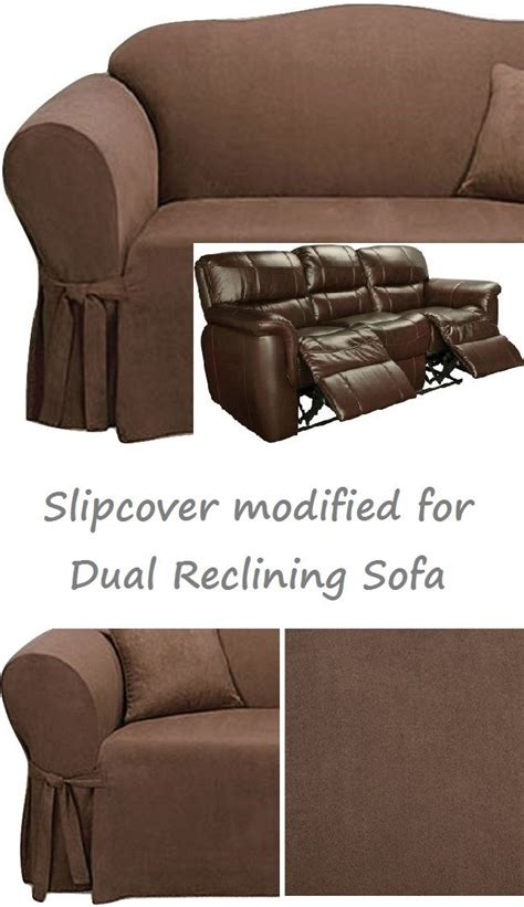 Dual Reclining Loveseat Slipcover by Dual Reclining Sofa Slipcover Suede Chocolate Sure Fit