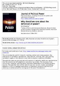 Pdf  Why Should We Care About The Definition Of Power
