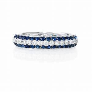56ct diamond and blue sapphire 18k white gold eternity With blue sapphire and diamond wedding rings