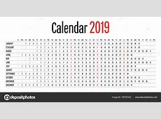 2019 Calendar Simple Clear Design Template Horizontal