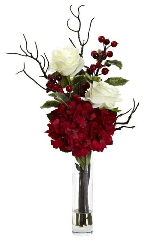 merry christmas rose hydrangea arrangement traditional