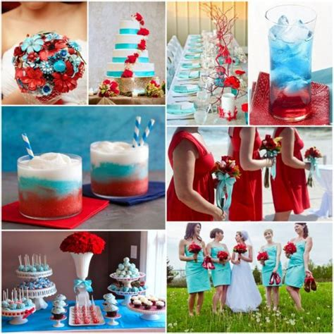 wedding ideas teal red and white wedding