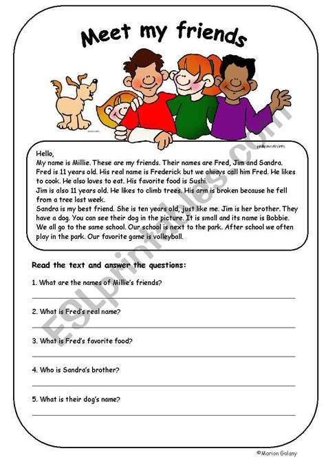 elementary reading to practice possessive adjectives esl