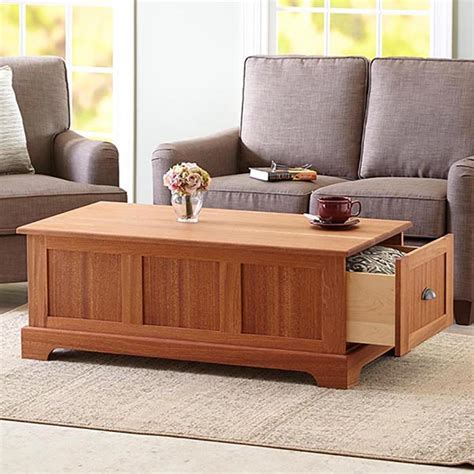 coffee table  storage drawers woodworking plan