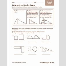 Congruent And Similar Figures Reteach Worksheet For 4th  5th Grade  Lesson Planet