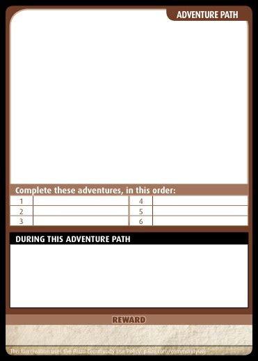 pathfinder templates paizo community use package pathfinder adventure card card templates