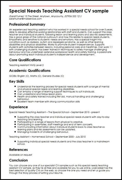 special  teaching assistant cv sample myperfectcv