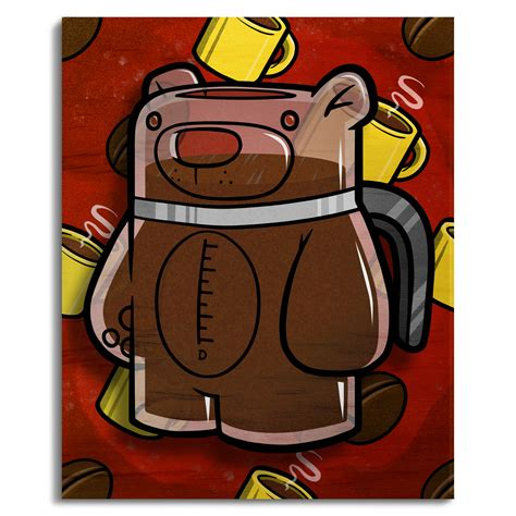 • printed using standard inks on 100lb, cover weight premium paper stock. Treat Bear Coffee - Wall Art Painting - Red Rocket Farm