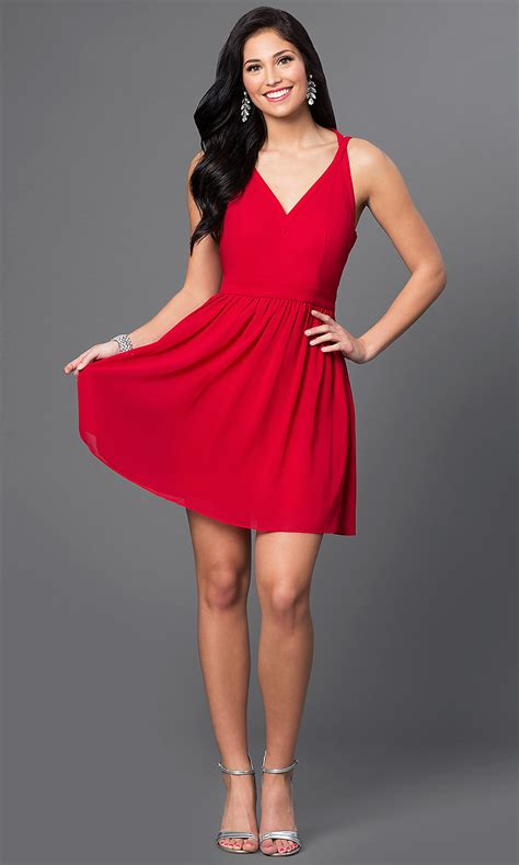 Short Red V-Neck Homecoming T-Back Dress - PromGirl