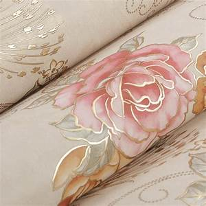 european luxury bronzing floral wallpaper rose mural wall With balkon teppich mit tapete china