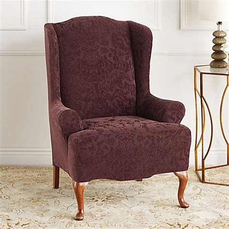 Wing Chairs Slipcovers by Sure Fit 174 Stretch Jacquard Damask Wing Chair Slipcover