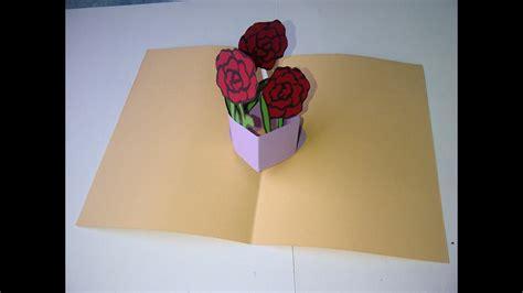 basteln 3d valentinstag muttertag oder geburtstag 3d pop up gru 223 karte mit blumenstrau 223 basteln