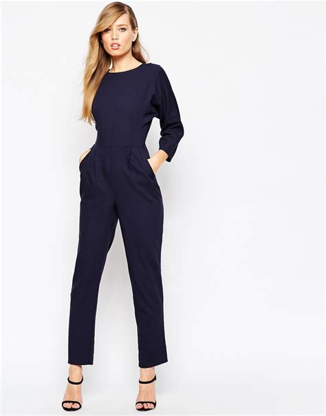 wrap jumpsuit asos jumpsuit with wrap back and kimono sleeve in blue lyst